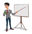 3d businessman in a presentation vector image