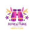 adventure happy time logo design summer vacation vector image vector image