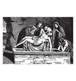 body jesus is placed in a tomb vintage vector image vector image