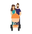 Cartoon Cute Parents with a Stroller vector image vector image
