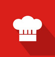 chef hat flat icon with red background vector image