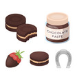 chocolate pasta biscuit strawberry in chocolate vector image vector image