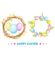 circle frame with easter eggs and tree vector image
