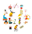 circus flat icons set vector image vector image