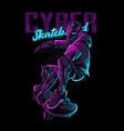 cyber skateboard robot vector image