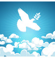 dove of peace flying in the sky white pigeon with vector image vector image