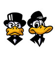 duck in black mascot design vector image