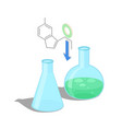 empty flask and with green chemical substance vector image vector image
