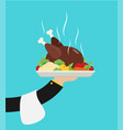 flat with hot cooked chicken vector image