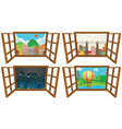 Four scenes from the window vector image vector image