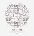 furniture concept in circle with thin line icons vector image vector image