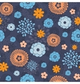 golden and blue night flowers seamless vector image