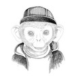 hand drawn portrait monkey with accessories vector image