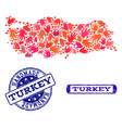 handmade collage of map of turkey and distress vector image