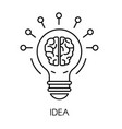 idea symbol light bulb and brain isolated outline vector image