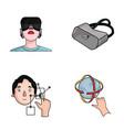 Innovation man head hand virtual reality set vector image