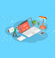 isometric flat concept web page design vector image vector image