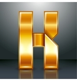 Letter metal gold ribbon - K vector image vector image