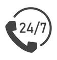 monochrome 24 7 support icon vector image vector image