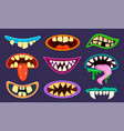 monster mouth cute scary goblin gremlin and vector image
