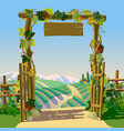 old wooden farm gate with signboard grapes and vector image vector image