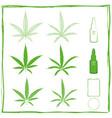 painterly cannabidiol green icons set vector image vector image