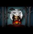 paper art of happy halloween vector image vector image