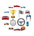 race icons set cartoon style vector image vector image