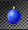 realistic blue christmas ball with silver ribbon vector image vector image