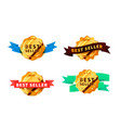 set different bright golden badges with tapes vector image vector image