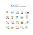 set linear icons cinema business vector image