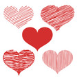 set of hand drawn heart doodles vector image