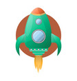 spacious green space rocket with powerful fire vector image vector image