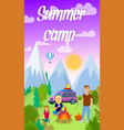 summer camping in forest flyer with text vector image vector image