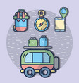 van with backpack and compass with smartphone vector image vector image