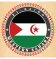 Vintage label cards of Western Sahara flag vector image vector image