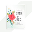wedding invitation card with flower decoration vector image vector image