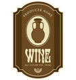 wine label with clay jug in retro style vector image vector image
