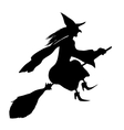 Witch on a broomstick Black silhouette vector image vector image