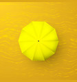 yellow umbrella on sand top view parasol vector image