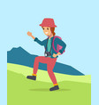 young woman walking hiking in the mountain area vector image vector image