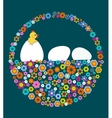 easter eggs and chicken with flower texture vector image