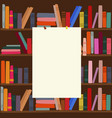 bookshelf in library with empty blank board on it vector image
