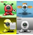 Digital robo set music fly red blue vector image