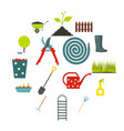 16 garden flat icons set vector image vector image