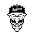 alien head in cap in vintage vector image vector image