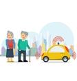 Autonomous car for elderly couple vector image vector image