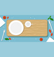 beautiful food background with wooden cutting vector image vector image