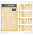Calendar for 2016 on background vector image