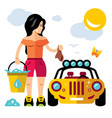 car wash girl flat style colorful cartoon vector image vector image